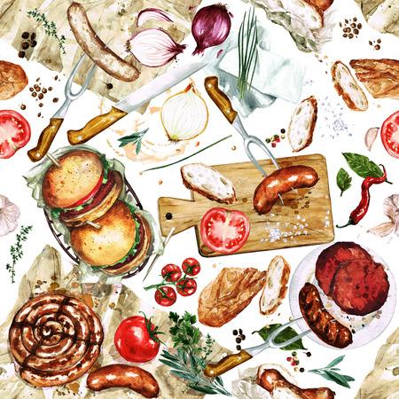 diet food: Watercolor Seamless pattern - Grilling