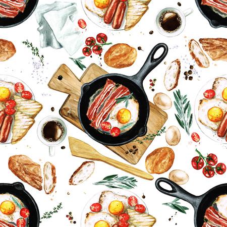Watercolor Seamless pattern - Breakfast