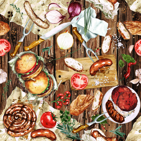 Watercolor Seamless pattern - Grilling