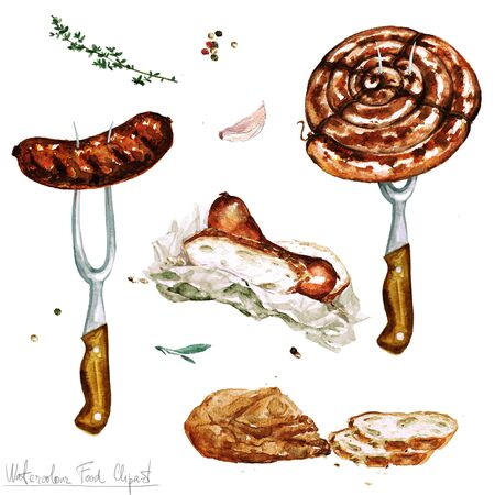processed food: Watercolor Food Clipart - Sausages