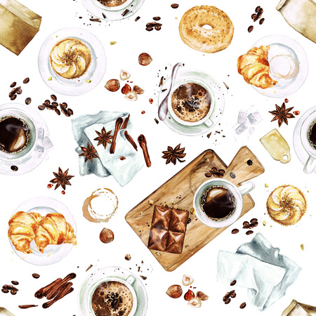 Watercolor Seamless pattern - Morning Coffee