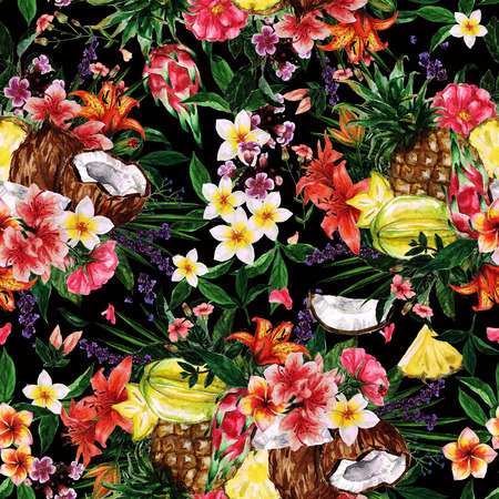 Watercolor Seamless pattern - Tropical Flowery background
