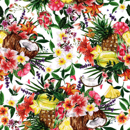 tiger lily: Watercolor Seamless pattern - Tropical Flowery background