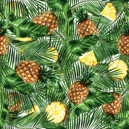 Watercolor Seamless pattern - Tropical background with Pineapples Stock Photo