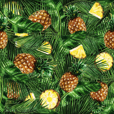 Watercolor Naadloze patroon - Tropische achtergrond met ananassen