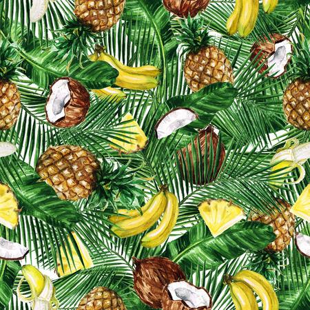 수채화 원활한 패턴 - 열대 과일 배경