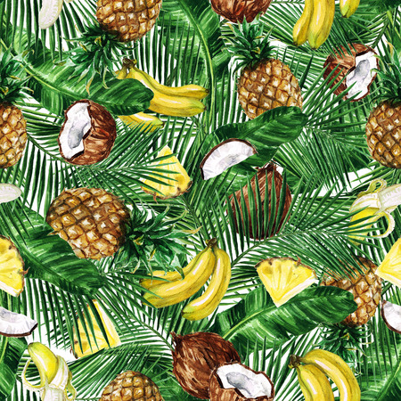 Watercolor Seamless pattern - Tropical Fruity background Zdjęcie Seryjne - 69745962