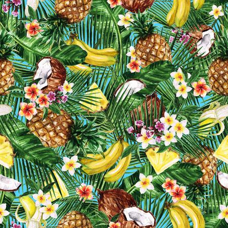 水彩のシームレスなパターン - 熱帯フルーツのような背景