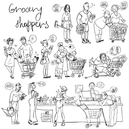 shoppers: Set of grocery shoppers, sketching isolated Illustration