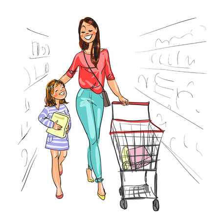 go to store: Mother and daughter shopping together. Isolated on white