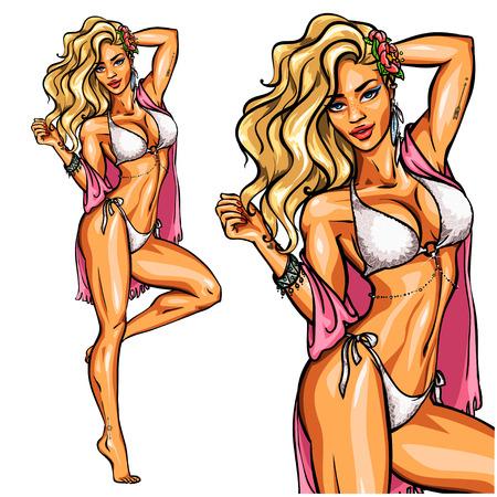 chica sexy: Fiesta chica en bikini aislado en blanco. Fijar Vectores
