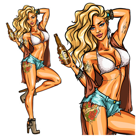 Partia dziewczyna w bikini z butelki piwa na białym tle. Upiąć Ilustracje wektorowe
