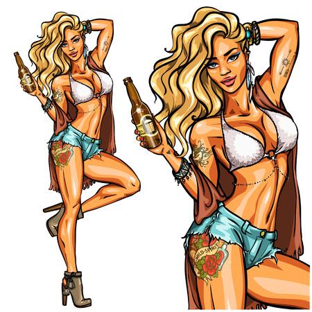 Partijmeisje in bikini met bierfles op wit wordt geïsoleerd dat. Vastpinnen Vector Illustratie