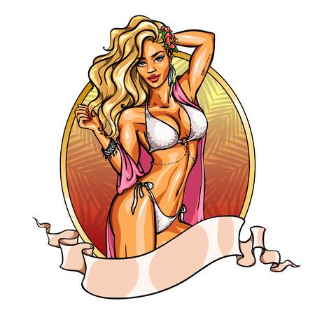 petite fille maillot de bain: Party girl en bikini. Étiquette avec ruban bannière. Afficher