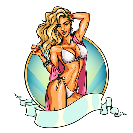 pin up: Party girl in bikini. Label with ribbon banner. Pin up