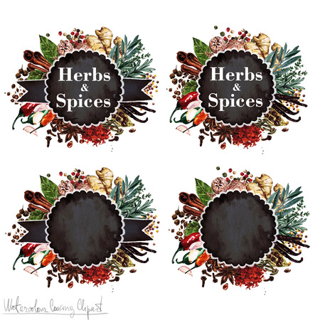 Watercolor Cooking Clipart - Set of Herbs and Spices labels. Isolated