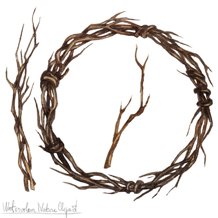 twine: Watercolor Nature Clipart - twine wreath Stock Photo