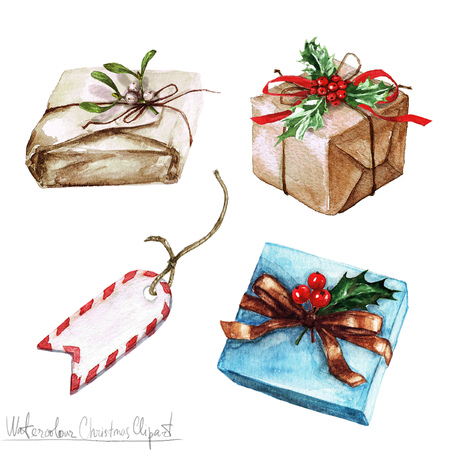 christmas gifts: Watercolor Christmas Clipart - Gifts
