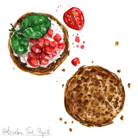 country kitchen: Watercolor Food Clipart - Snack, Bruschetta