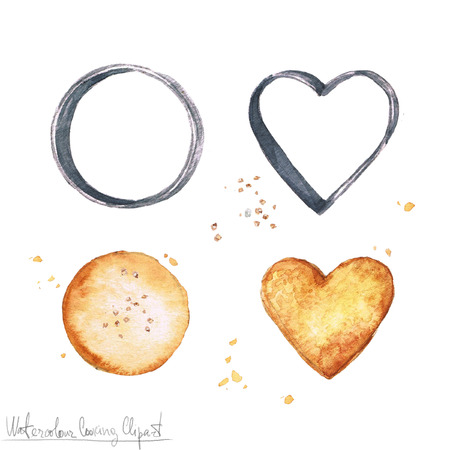 shortbread: Watercolor Food Clipart - Cookies and Cookie cutters