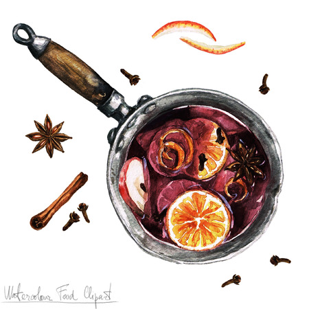country kitchen: Watercolor Food Clipart - Mulled wine