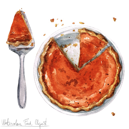 Watercolor Food Clipart - Pumpkin Pie Stock Photo