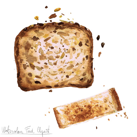 country kitchen: Watercolor Food Clipart - Toast Stock Photo