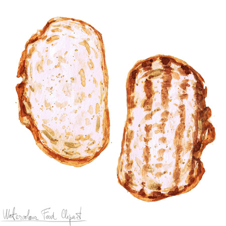 country kitchen: Watercolor Food Clipart - two Slices of Bread