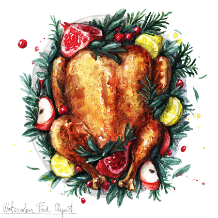 Watercolor Food Clipart - Roast Turkey Stock Photo