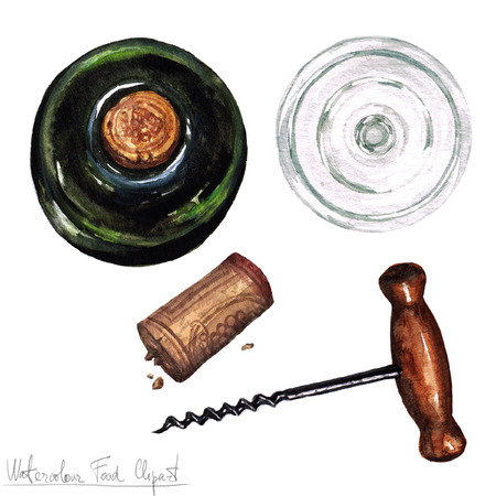 cork screw: Watercolor Kitchenware Clipart - Cork screw, empty glass and bottle of wine - top view Stock Photo