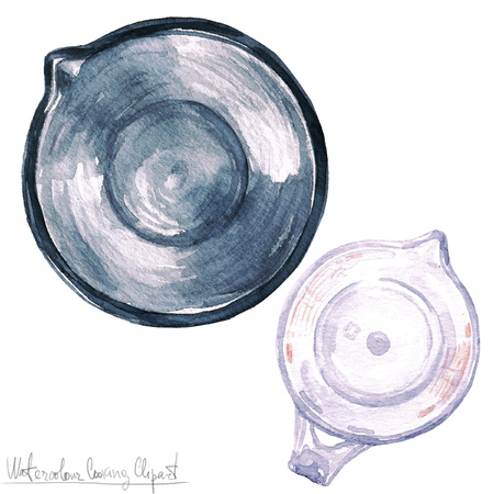 lay: Watercolor Kitchenware Clipart - Measuring cup and Mixing bowl -  top view