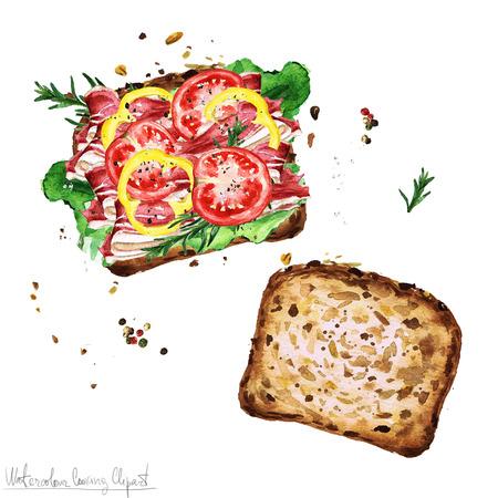 Watercolor Food Clipart - Sandwich