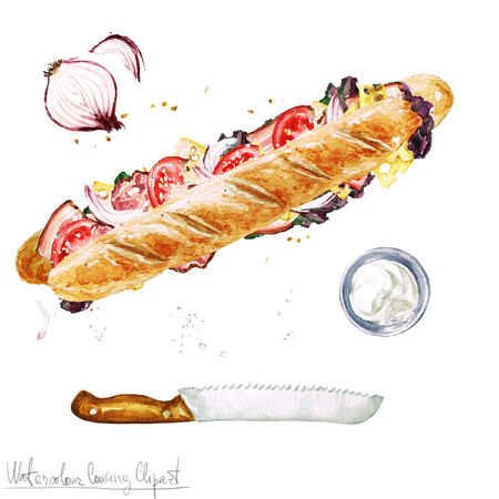 country kitchen: Watercolor Food Clipart - Submarine Sandwich