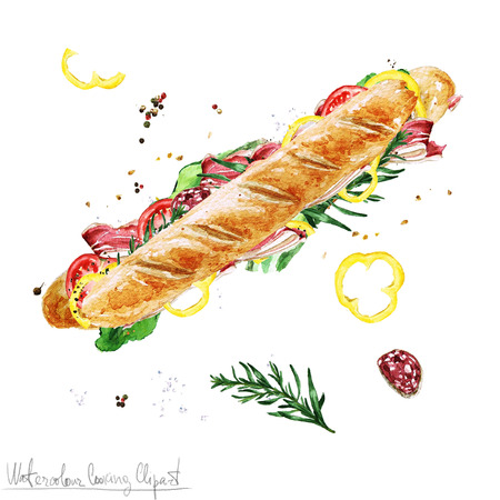 ham sandwich: Watercolor Food Clipart - Submarine Sandwich