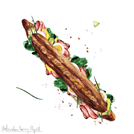 boiled: Watercolor Food Clipart - Submarine Sandwich