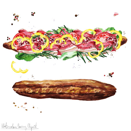 水彩食べ物クリップアート - サブマリン サンドイッチ