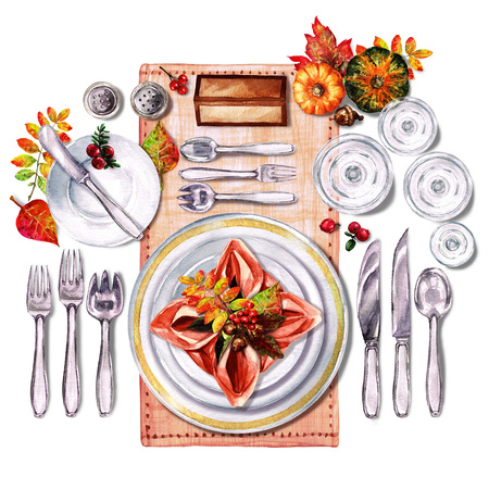 setting table: Autumn Table Decorations. Place setting - Watercolor Illustration.