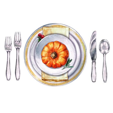 Autumn Table Decorations. Place setting - Watercolor Illustration.