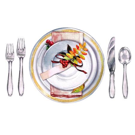cuchillo: Decoración de las mesas de otoño. Configuración de lugar - Ejemplo de la acuarela. Foto de archivo