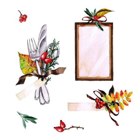 setting: Autumn Table Decorations. Place setting elements - Watercolor Illustration.