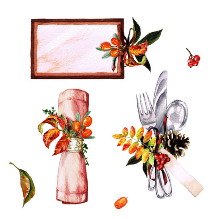 setting table: Autumn Table Decorations. Place setting elements - Watercolor Illustration.