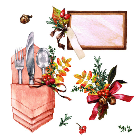 lunch table: Autumn Table Decorations. Place setting elements - Watercolor Illustration.