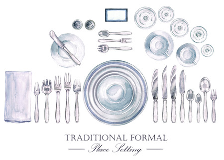Traditional Formal Place Setting. Watercolor Illustration