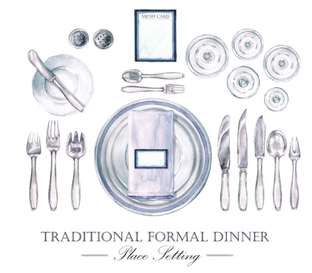 formal place setting: Traditional Formal Dinner Place Setting. Watercolor Illustration Stock Photo