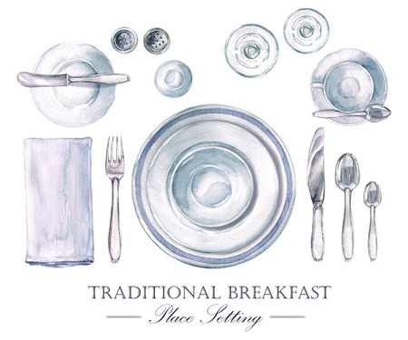 Traditional Breakfast Place Setting. Watercolor Illustration Stock fotó