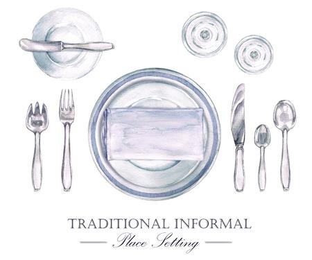 Traditional Informal Place Setting. Watercolor Illustration Archivio Fotografico