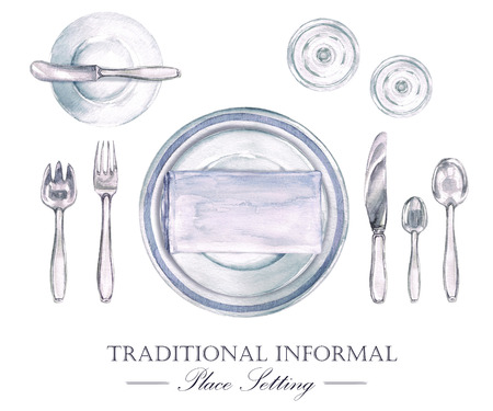 Traditional Informal Place Setting. Watercolor Illustration Фото со стока