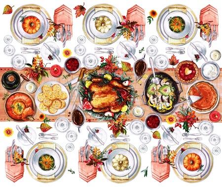 Herbst Tischdekorationen. Gedeck - Aquarell-Illustration. Standard-Bild