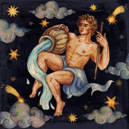 Zodiac sign - Aquarius. Watercolor Illustration. Stock Photo