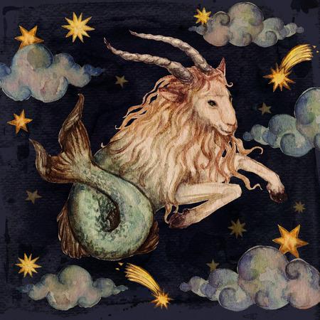 Zodiac sign - Capricorn. Watercolor Illustration. Stock Photo